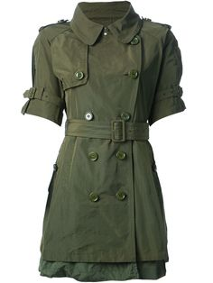 Military green belted trench coat from Moncler W featuring a notched collar, epaulettes on the shoulders, a double breasted front fastening, a belted waist, side pockets, a layered design, short sleeves, a rear central vent and a storm flap.