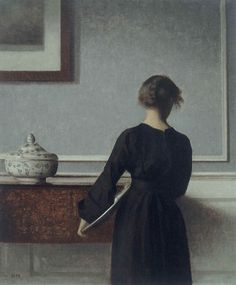 2-3-2:    Interior with Young Woman from Behind, 1904, Vilhelm Hammershøi.