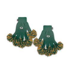 Green Bay Packers NFL Spirit Fingerz Embroidered Pom Gloves