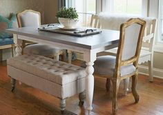 I began obsessing over the farmhouse tables that are everywhere, and I decided I could get the look I wanted by giving my kitchen table a little makeover. [medi…