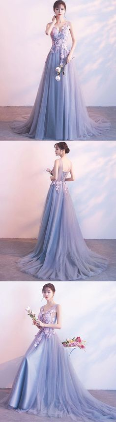 Gray lace tulle long prom dress, gray evening dress, gray formal dress