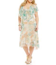 Reba Plus Split Capelet Dress