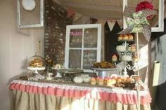 Wide view of dessert table
