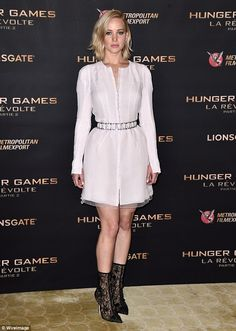 Jennifer Lawrence pulls faces at The Hunger Games Mockingjay Part 2 Paris premiere | Daily Mail Online