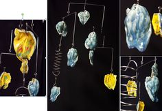 Mobile Ceramic Air Sculpture - low fire ceramic magnolia flower pods in Blue Azure with Harvest Yellow/Appeltini