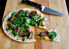 Chimi churi sauce.   Open faced Steak Quesadillas with  Chimi churi sauce