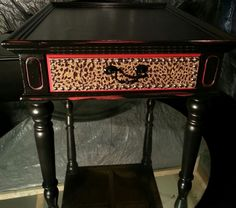 leopard accent table | Rockstar Glam House » Black, Red & Leopard End Table