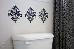 great alternative to wallpapering the entire laundry room...