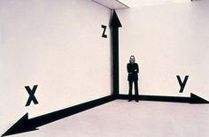 "Timm Ulrichs – ""Raum-Koordinaten-Raum"", 1973/75 – paint, adhesive foil – dimensions variable"