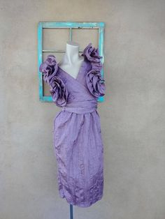 1980s dress vintage 80s PINK MARILYN DRAPED sarong look chiffon party cocktail dress