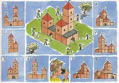 What side of the castle does each person see? Work Inspiration, First Grade, School Projects, Middle Ages, Taj Mahal, Knight, Diy And Crafts, Kindergarten, Castle