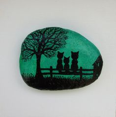Cats Painting on Stone Framed: Cats Silhouette Painting, Stone Art, Painted Pebble, Cats Art, Children Art, Cats Family Painting, Three Cats