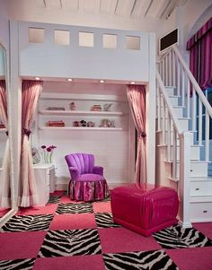 This would be my dream bedroom! With stairs to go up to your bed and desk underneath