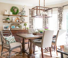 Suzy continued to add greenery into the designs in her dining room. We personally love the lampshade.
