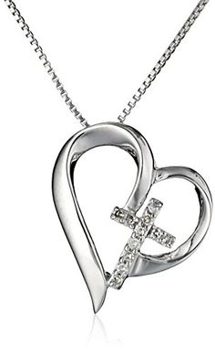 "Sterling Silver Open Heart with Diamond Cross ""Faith Hope Love"" Pendant Necklace, 18"" Amazon Collection http://www.amazon.com/dp/B00NP9TOSC/ref=cm_sw_r_pi_dp_rP9wvb145356V"