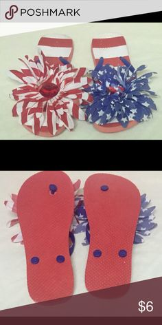 New unbranded  Size 10 America Flip Flops . Red,White and Blue American theme Sandals. Flower decor on top of foot with a large red jewel in the center. Great for the 4th of July. unbreanded Shoes