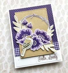 PTI: Gran's Garden (winter wisteria and royal velvet), Twig Wreath stamp set, bird from the Spring Woods (gray, kraft, black). the Queen's Scene