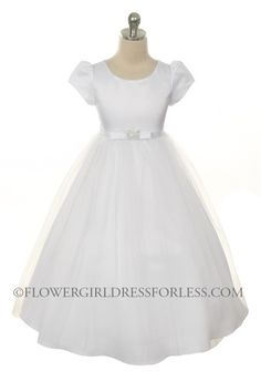 Girls Dress Style 279- Choice of White or Ivory Short Sleeve Satin and Tulle Dress with Rhinestone $49.99