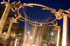 A dynamic night shot of the Riverfront Park Rotary Fountain!!  We like!!