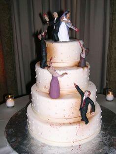 Zombie Wedding Cake   Zombie-Infested Wedding Cake Shows Couple Sticking Together While ...