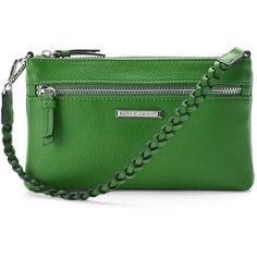 Dana Buchman Linda Wristlet (1,280 DOP) ❤ liked on Polyvore featuring bags, handbags, clutches, med green, wristlet purse, faux leather purses, zip wristlet, dana buchman handbags and zipper wristlet