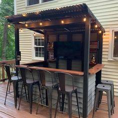 Outdoor Garden Bar, Garden Bar Shed, Outdoor Tiki Bar, Outdoor Kitchen Bars, Outdoor Bars, Backyard Pavilion, Backyard Bar, Backyard Kitchen, Backyard Patio Designs
