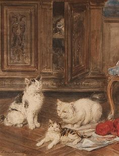 """Louis Eugene Lambert  French, 1825-1900  Three Cats in an Interior  watercolor on paper  signed """"L. Eugene Lambert"""" ll  12 1/2 x 9 1/2 in., private collection"""