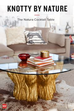 One with Nature. Incorporate the natural beauty of the outdoors in your home with the Natura collection. The avant-garde combination of illustrious metallic finishes and rustic design brings an exceptionally unique look to your space. The tempered glass top transforms each table into a functional showpiece. Some customer assembly required.