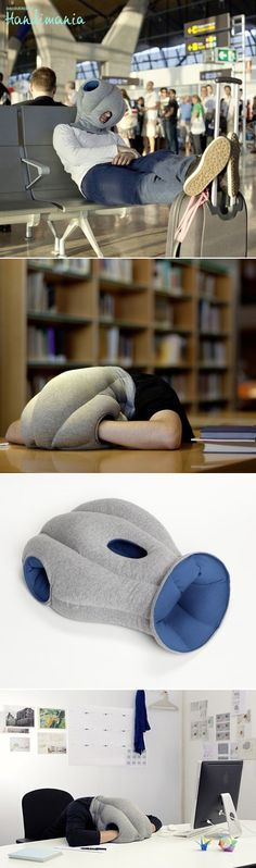 Ostrich pillow: tune out and power-nap! Ostrich pillow offers a micro environment in which to take a warm and comfortable power nap at ease. It is neither a pillow, nor cushion, bed or garment, but a bit of each all at the same time. Designed by Kawamura-Ganjavian. € 80.