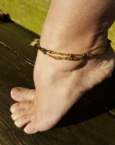 Green, Gold, and Bronze Beaded Anklet; product id: ggabba by SpecialMadeJoy on Etsy
