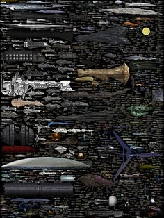 Size Comparison - Science Fiction Spaceships http://dirkloechel.deviantart.com/art/Size-Comparison-Science-Fiction-Spaceships-398790051