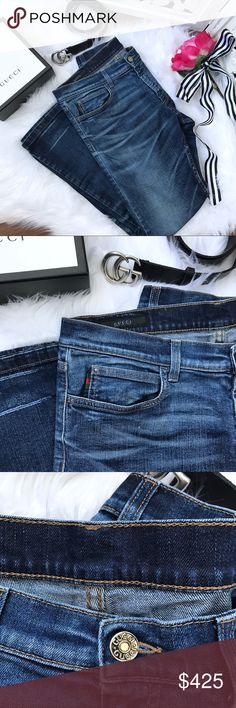 bed3c079825 Gucci Distressed Denim Jeans with Red Green Stripe These classic blue jeans  from fashion powerhouse Gucci