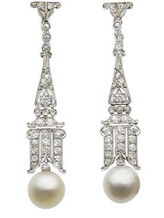 Art Deco Natural Pearl, Diamond, Platinum, White Gold Earrings. The earrings feature natural pearls measuring 8.50 and 8.64 mm, enhanced by European, single and rose-cut diamonds weighing a total of approximately 1.00 carat, set in platinum, completed by 18k white gold screw backs, with Austrian and French assay marks.