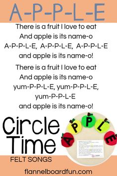 Preschool circle time song lyrics are included with all the adorable felt board song sets in this shop! Liven up your preschool circle time with felt boards. Get your kids engaged while building early literacy and music and movement skills! Preschool Circle Time Songs, Preschool Music, Preschool Lesson Plans, Preschool Curriculum, Preschool Learning, Preschool Activities, Apple Preschool Crafts, Preschool Set Up, Daycare Crafts