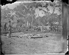 Dead Ready for Burial, at Fredericksburg, Virginia.   Taken circa 1863  Fredericksburg, Virginia, US