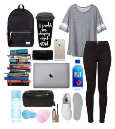 """""""back to school outfit"""" by rosie313 ❤ liked on Polyvore featuring Herschel Supply Co., Victoria's Secret, American Apparel, Vans, 7 For All Mankind, Casetify, MICHAEL Michael Kors, Anya Hindmarch, Benefit and Eos"""