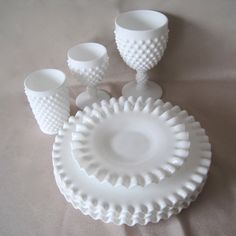 Four Fenton Hobnail Milk Glass plates with Crimped Edges x Want these to add to my red white and blue theme kitchen and dinning rooms. How gorgeous would it be to add a red charger and a blue bowl to these? Fenton Milk Glass, Fenton Glassware, Antique Glassware, Antique Lamps, Vintage Dishes, Vintage China, Vintage Kitchen, Vintage Cake Stands, Vaseline
