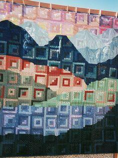 Log Cabin landscape    Sisters Quilt Show, 2001 by Mellicious, via Flickr