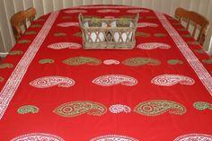 Hand printed Christmas Kolka design Fair Trade table cloth