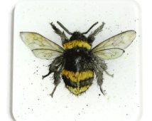 Bumble Bee Coaster - Recycled Glass Drinks Mat, Bee Gift, Country Kitchen
