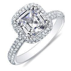 2.04 Ct. Asscher Cut Micro Pave Halo Round Diamond Engagement Ring 14K G,VS1 EGL
