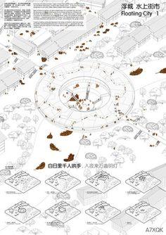 Winners of the Links: Bridging Rivers Competition - Chongqing / Pan Yudan, Chen Zhidong, Qian Shiqi,Zhang Hanyang, Cao Zulue, Ye Mingxi Architecture Board, Architecture Graphics, Architecture Student, Architecture Drawings, Architecture Design, Architecture Diagrams, Water Architecture, Architecture Portfolio, Gothic Architecture