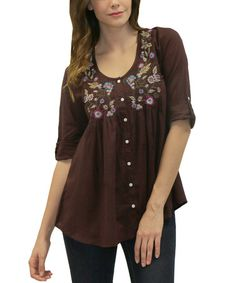 Look what I found on #zulily! Oxblood Alisha Scoop Neck Button-Up Top - Women & Plus by Caite #zulilyfinds
