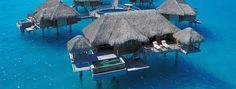 Bora Bora, please! Note the trampoline off the deck. Perfect for getting into the water. Bora Bora Resorts, Hotels And Resorts, Bora Bora Overwater Bungalows, Vacation Resorts, Dream Vacations, Vacation Spots, Apple Vacations, Vacation Destinations, Four Seasons Bora Bora