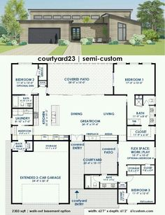 Plan Bed Modern House Plan With Open Concept Layout