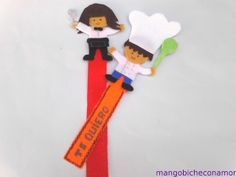 marcapáginas camarera y cocinero en fieltro