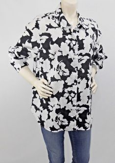 5208e8d0ecb J. Jill Floral 100% Linen Button Down Shirt Black White Long Sleeve Sz XL