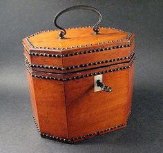 Ruby Lane, 1790 Fruitwood Octagonal Tea Caddy