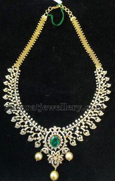 Jewellery Designs: Diamond Necklace worth 9 Lakhs