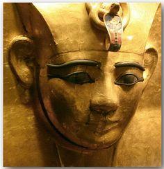 Golden mask of King Amenemope.  Detail.  From Tanis.  Egyptian Museum, Cairo.  2004.  2004.
